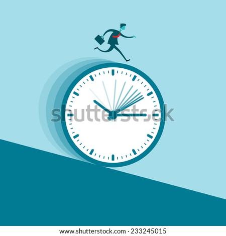 Vector illustration of a businessman running nonstop on a clock wheel gliding downhill. - stock vector