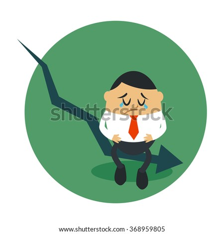 Vector illustration of A businessman sad on decreased chart arrow, Perfect to use for website or magazine illustration