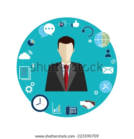 vector illustration of a businessman with icons - stock vector