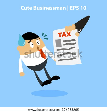 Vector illustration of A businessman with shocked face expression facing tax bill, Perfect to use for promotion tools, website images or magazine illustration