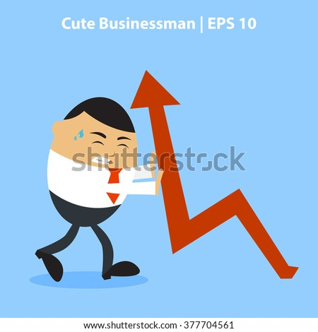 Vector illustration of A businessman with stress face expression pushing graphic arrow, Perfect to use for promotion tools, website images or magazine illustration