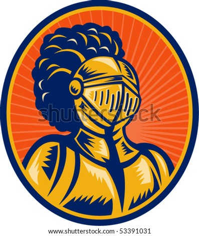 vector illustration of a Bust of Knight in full gear set inside a circle. - stock vector