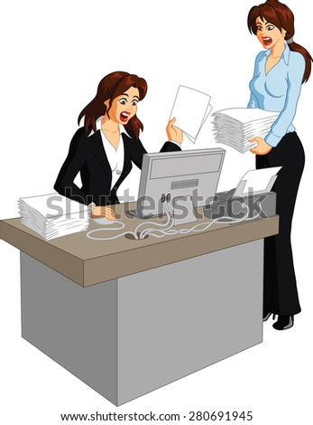 Vector illustration of a busy businesswoman interacting at work in an office environment. - stock vector