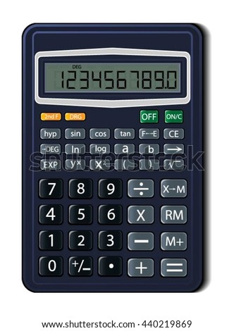 Vector illustration of a calculator. Used as a design object for the site templates on the topics the finance and the science. Illustration includes shadows, transparency, reflections, gradients.