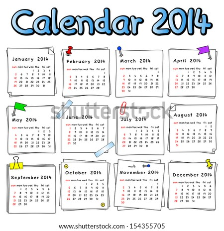vector illustration of a calendar 2014 week starts on Sunday - stock vector