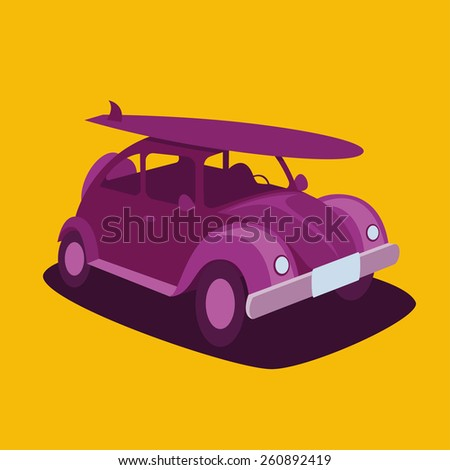 vector illustration of a California serfboards vintage car with a board on the roof design for t-shirts,vintage design - stock vector
