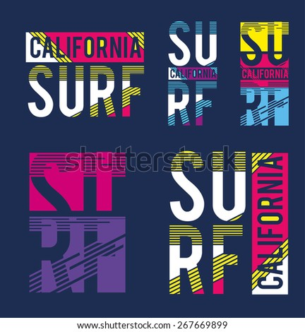 vector illustration of a California surfing design for t-shirts,vintage graphics for t-shirt designs - stock vector