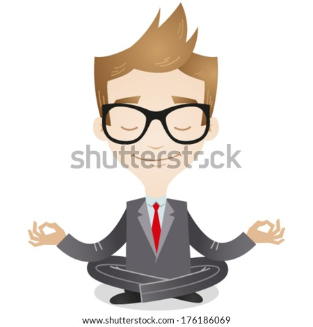 Vector illustration of a calm young cartoon businessman sitting cross-legged, smiling and meditating (JPEG version also available in my gallery).  - stock vector
