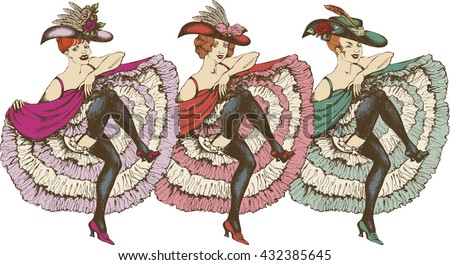 Vector illustration of a cancan dancer - stock vector