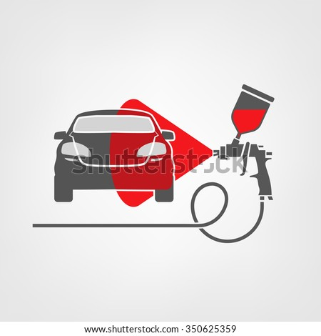 Vector illustration of a car body repair. Automotive concept useful for a pictogram, icon, logotype or signboard design.Transportation collection in gray and red color - stock vector