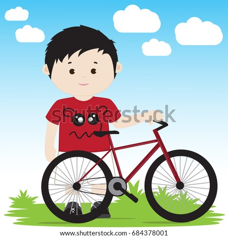 vector illustration of a cartoon boy with a bicycle on a green lawn - Cartoon Boy Images Free