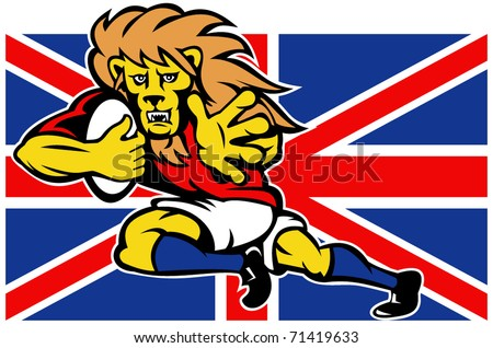 vector illustration of a cartoon British Lion playing rugby running with ball fending off with Union Jack Flag isolated on white background