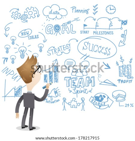 Vector illustration of a cartoon businessman (back view) scribbling business related words on a wall. - stock vector