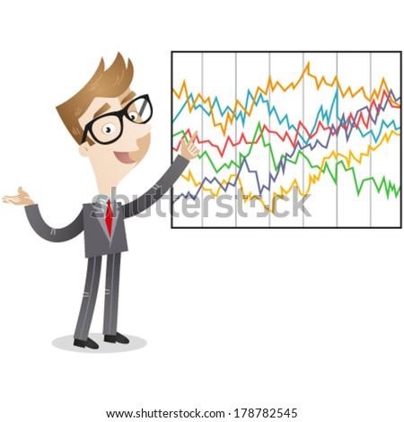 Vector illustration of a cartoon businessman explaining complicated statistics. - stock vector