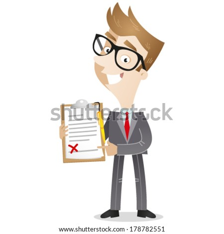 Vector illustration of a cartoon businessman showing and pointing at a clipboard with a contract pinned to it; the empty signature field is marked with a red cross. - stock vector