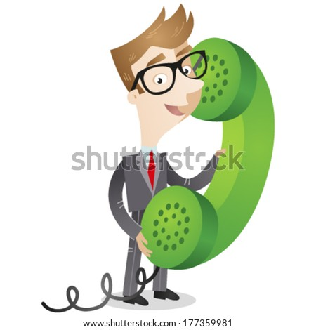 Vector illustration of a cartoon businessman speaking into a huge green telephone receiver.  - stock vector