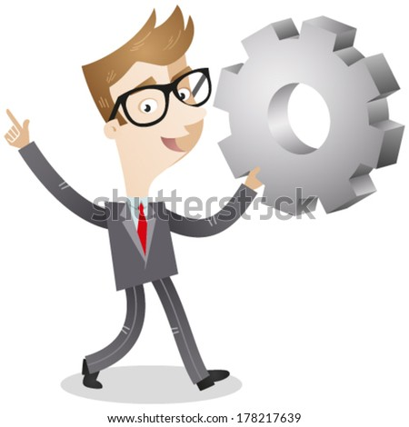 Vector illustration of a cartoon businessman walking and holding up a cog with an explaining gesture. - stock vector