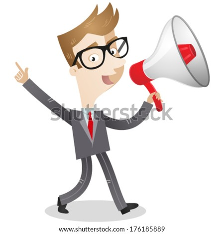 Vector illustration of a cartoon businessman walking and talking into a megaphone (JPEG version also available in my gallery).  - stock vector