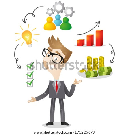 Vector illustration of a cartoon businessman with icons explaining successful business strategy (JPEG also available). - stock vector