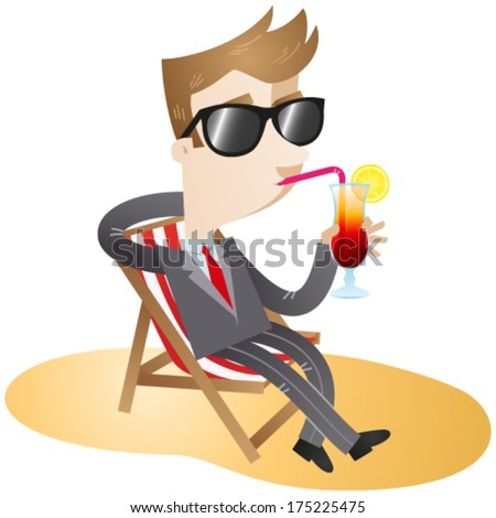 Vector illustration of a cartoon businessman with sunglasses sipping his cocktail and sitting in canvas chair on the beach (JPEG also available). - stock vector