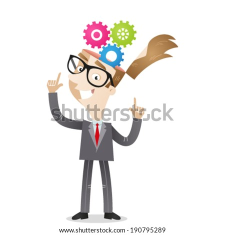 Vector illustration of a cartoon character: Businessman pointing at cog wheels in his head. - stock vector
