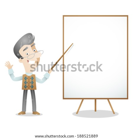 Vector illustration of a cartoon character: Senior gray haired professor teacher pointing at blank screen.