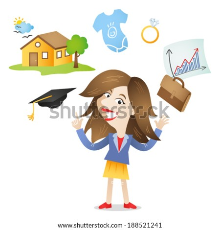 Vector illustration of a cartoon character: Young adult woman with future plans and opportunities, career, family, home icons. - stock vector