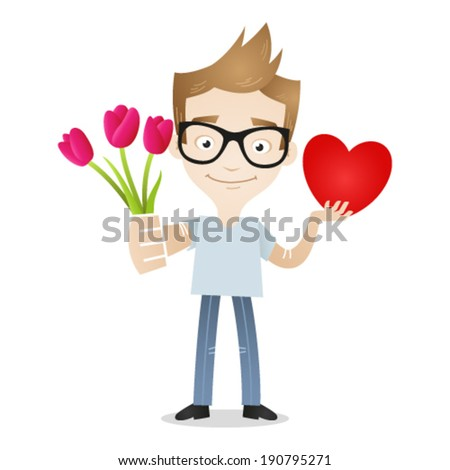Vector illustration of a cartoon character: Young man smiling and holding bouquet of flowers and heart. - stock vector