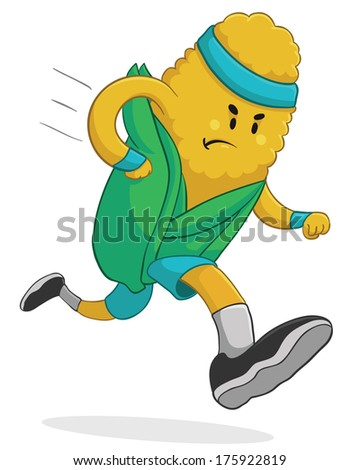 Vector illustration of a cartoon corn running is some fitness clothing. Fully editable.