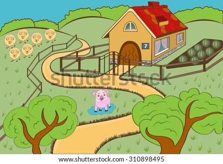 vector illustration of a cartoon countryside landscape view. - stock vector