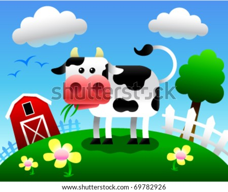 Vector illustration of a cartoon cow eating grass in a farm setting. - stock vector