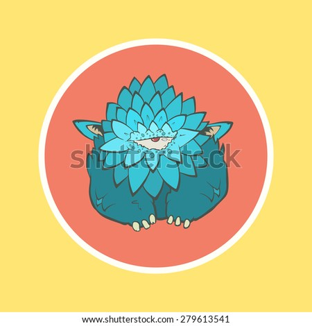Vector illustration of a cartoon cute blue monster with feathers, one eye and ears in circle. Hand drawing cartoon. The concept of the character on a uniform background. - stock vector