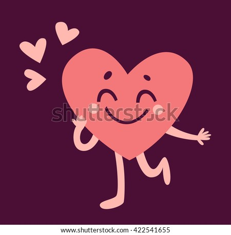 Vector illustration of a cartoon heart character happy and in love.