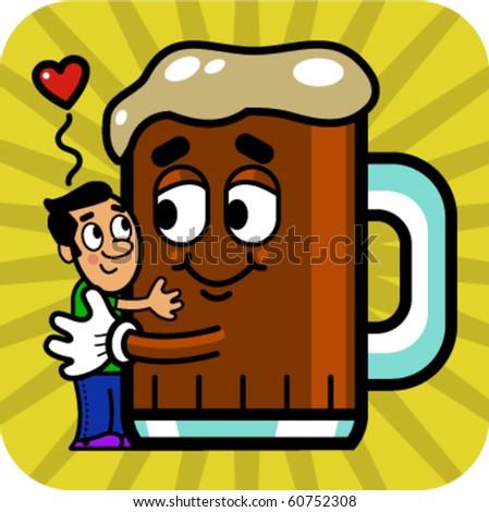 Vector illustration of a cartoon man hugging a cartoon beer. - stock vector