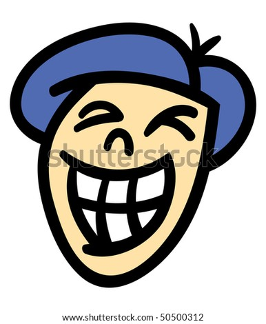 Vector illustration of a cartoon man's head and face with a big toothy smile - stock vector