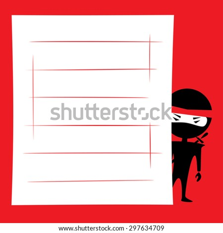 Vector illustration of a cartoon ninja hiding and spying. Place for text on a white background. Red, black and white colors. - stock vector