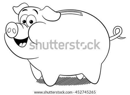 vector illustration of a cartoon piggy bank