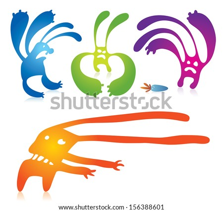 Vector illustration of a cartoon rabbit monsters. Can be easily colored and used in your design.  - stock vector