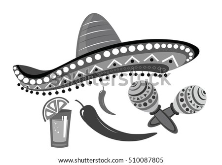 Vector illustration of a cartoon sambrero, tequila and lime