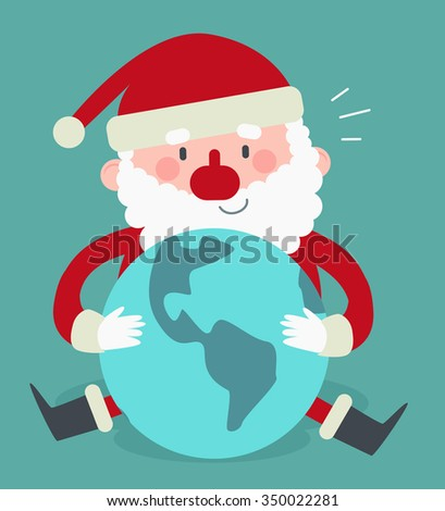 Vector illustration of a cartoon santa sitting and holding the Earth planet. - stock vector