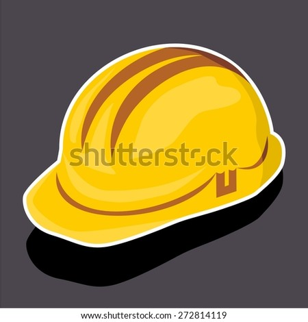 Vector illustration of a cartoon stickers of safety helmet, hard hat - stock vector