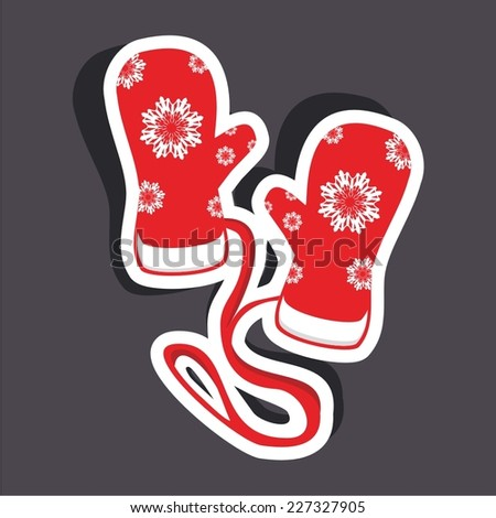 Vector illustration of a cartoon stickers set of isolated winter accessories - gloves, mittens - stock vector