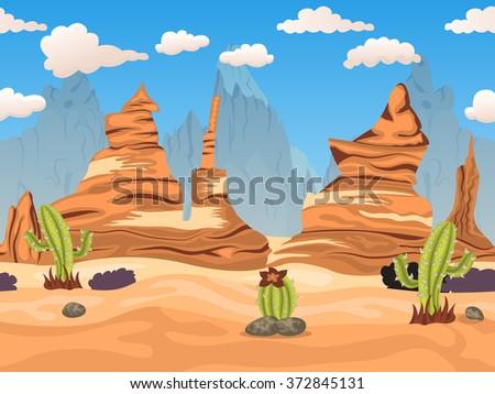 Vector illustration of a cartoon western desert background. - stock vector