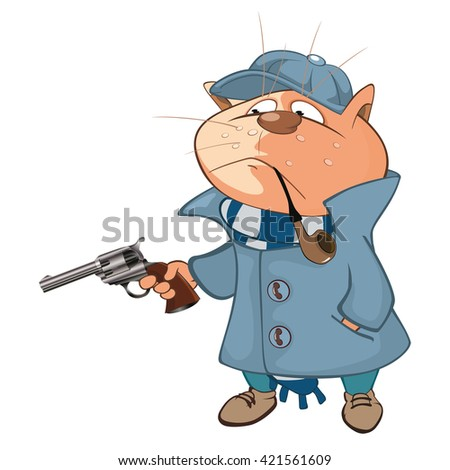 Vector Illustration of a Cat Detective. Cartoon Character