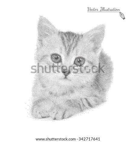 Vector illustration of a cat in black and white graphic style pointillism over white - stock vector