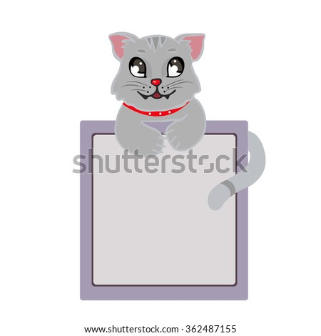 Vector illustration of a cat with a tablet for text. Isolated on white background - stock vector