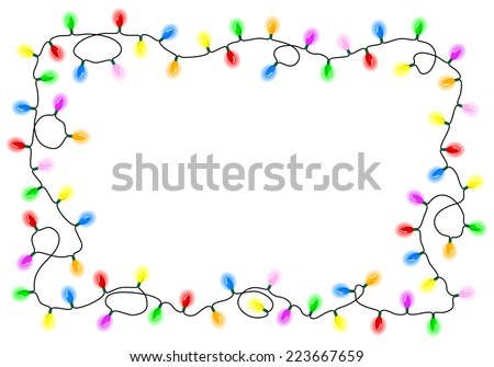 vector illustration of a chain of colorful lights - stock vector