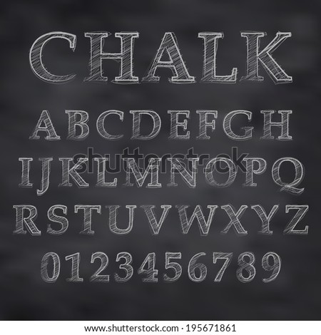 Vector illustration of a chalk alphabet on a blackboard