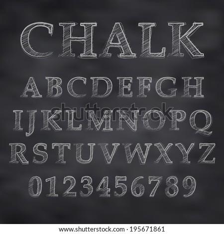 Vector illustration of a chalk alphabet on a blackboard - stock vector
