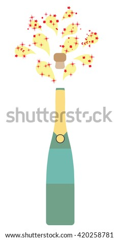vector illustration of a champagne bottle with fireworks - stock vector